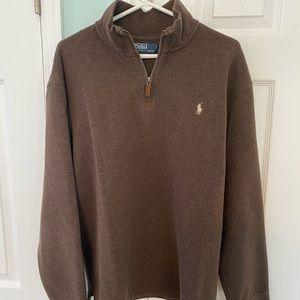 Vtg Polo Ralph Lauren Brown 1/4 Zip Sweater XXL